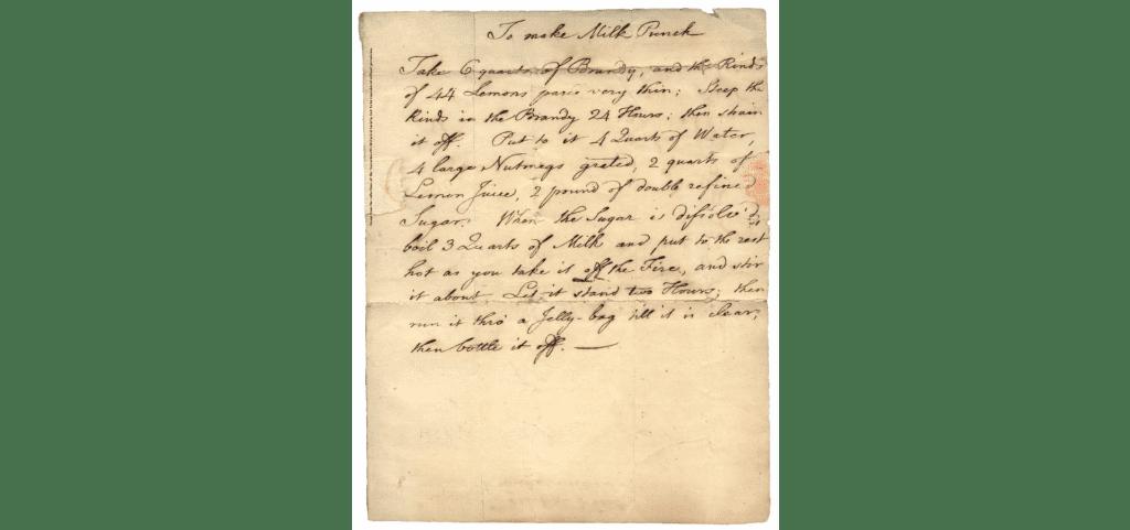 Benjamin Franklin's Milk Punch Recipe