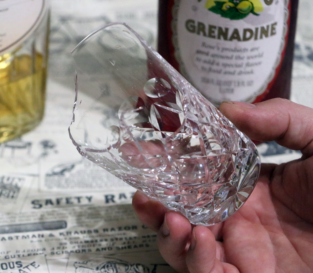 Broken Delmonico Glass